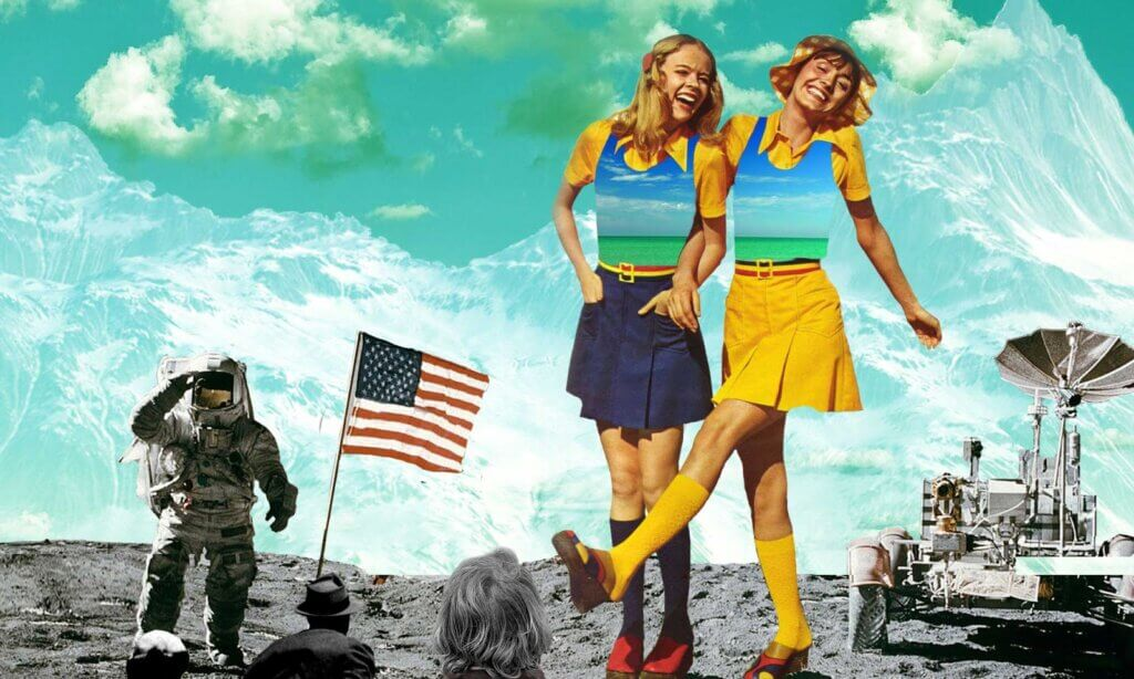 collage art happy girls on the moon