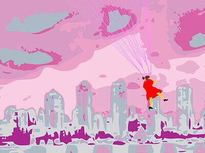 girl in the city illustration landing